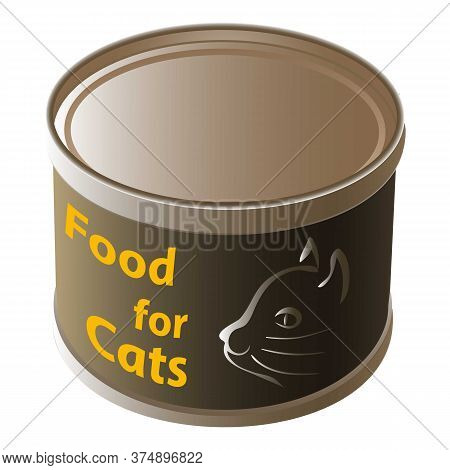 Cat Food Tin Can Icon. Cartoon Of Cat Food Tin Can Vector Icon For Web Design Isolated On White Back