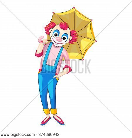 Cute Clown With Umbrella Icon. Cartoon Of Cute Clown With Umbrella Vector Icon For Web Design Isolat