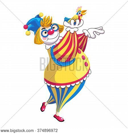 Clown With Colorful Parrot Icon. Cartoon Of Clown With Colorful Parrot Vector Icon For Web Design Is