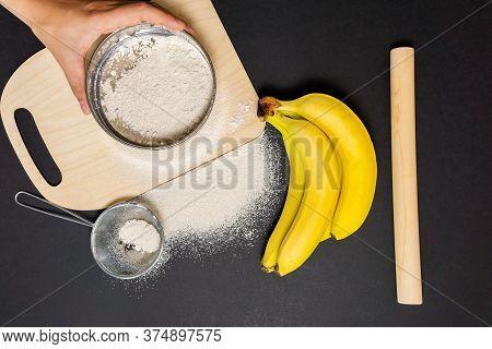 Banana Flour Type Of Flour For Baking. Gluten Free Plant Flour. Gluten Intolerance Concept.