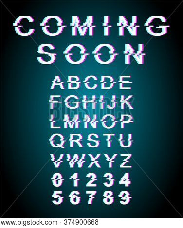Coming Soon Glitch Font Template. Retro Futuristic Style Vector Alphabet Set On Blue Background. Cap