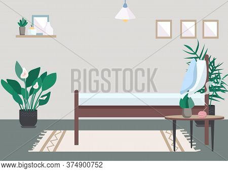 Bedroom Flat Color Vector Illustration. Bed For Relaxation. Incent On Table For Aromatherapy. Place