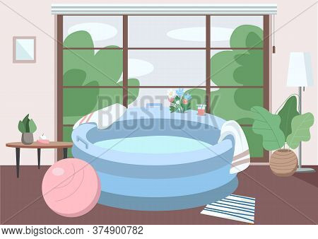 Inflatable Tub At Home Flat Color Vector Illustration. Prepared Place For Lamaze Technique Childbirt