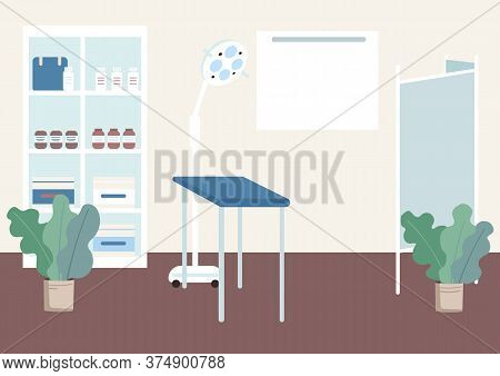 Gynecologist Cabinet Flat Color Vector Illustration. Table For Health Examination. Checkup Equipment