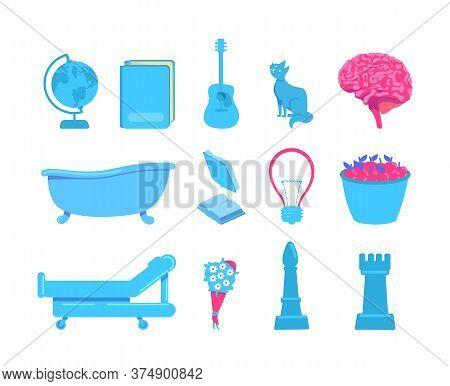 External Stimuli Of Brain Activity Flat Color Vector Object Set. Sources Of Various Sensations. Touc