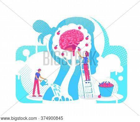 Acquiring Experiences Flat Concept Vector Illustration. Growth Personality Knowledge Tree 2d. Cartoo