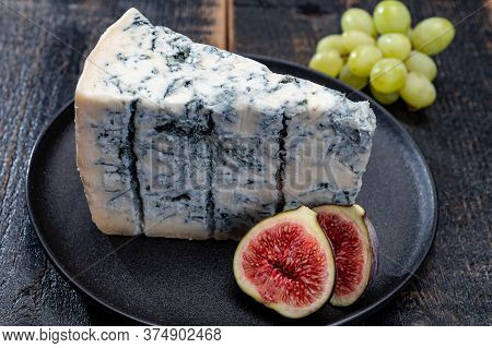 Cheese Collection, Piece Of Italian Blue Cheese Gorgonzola Picante With Blue Mold From North Of Ital
