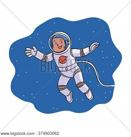 Happy Smiling Boy Astronaut On Outer Space. Child Wearing Spacesuit And Helmet Floating Among Cosmic