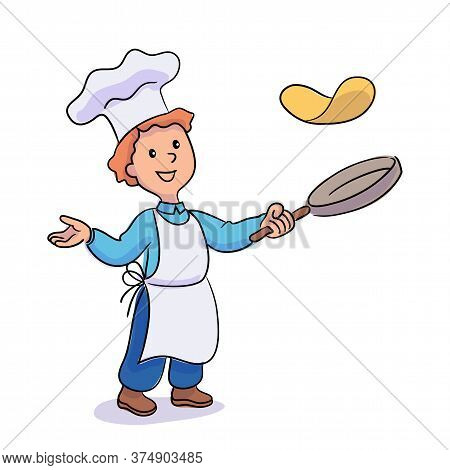 Little Boy Cook Tossing Pancakes In Frying Pan. Junior Chef Wearing White Hat And Apron Making Desse