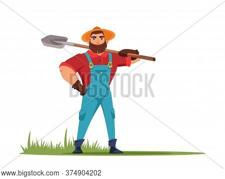 Male Farmer Holding Shovel In Hand Flat Vector Illustration. Farmer Standing With Spade. Farming Wor