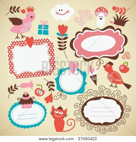 set of cute frames and kids icon