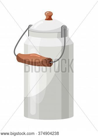 Closed Steel Milk Can With Wooden Handle Isolated On White. Old Aluminum Container For Liquid Storag