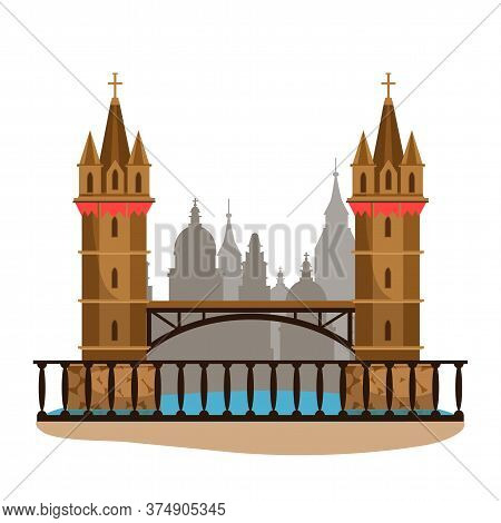 City Landmark With Two Brick Towers And Old Stone Bridge. Cityscape Silhouette. Famous Architecture.