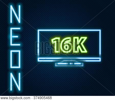 Glowing Neon Line Screen Tv With 16k Ultra Hd Video Technology Icon Isolated On Black Background. Co