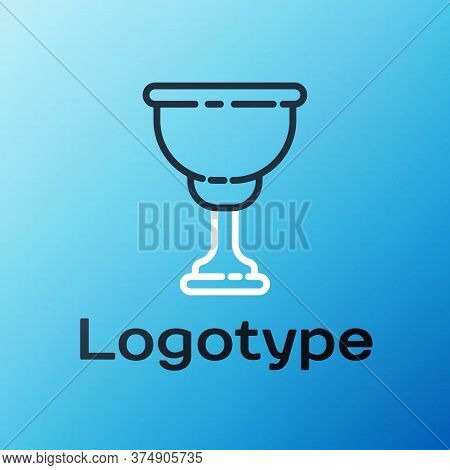 Line Christian Chalice Icon Isolated On Blue Background. Christianity Icon. Happy Easter. Colorful O