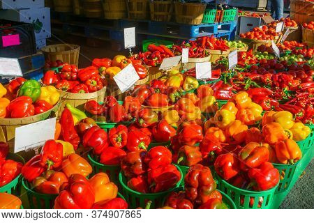 Peppers And Other Vegtables On Sale In The Jean-talon Market Market, Little Italy District, Montreal