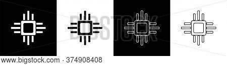 Set Computer Processor With Microcircuits Cpu Icon Isolated On Black And White Background. Chip Or C