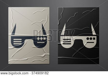 White Smart Glasses Mounted On Spectacles Icon Isolated On Crumpled Paper Background. Wearable Elect