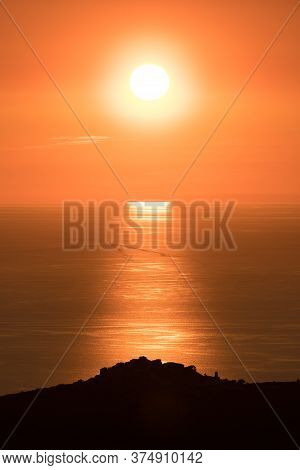 Sunset Over The Village Of Sant'antonino And Mediterranean