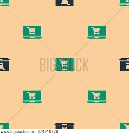 Green And Black Shopping Cart On Screen Laptop Icon Isolated Seamless Pattern On Beige Background. C