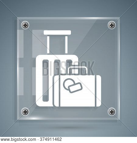 White Suitcase For Travel Icon Isolated On Grey Background. Traveling Baggage Sign. Travel Luggage I