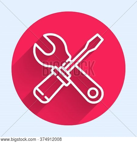 White Line Screwdriver And Wrench Spanner Tools Icon Isolated With Long Shadow. Service Tool Symbol.