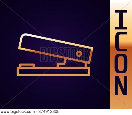 Gold Line Office Stapler Icon Isolated On Black Background. Stapler, Staple, Paper, Cardboard, Offic