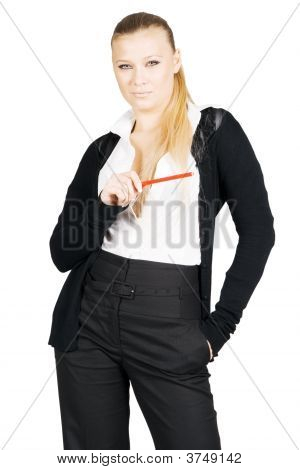 Pretty Business Lady With Pencil