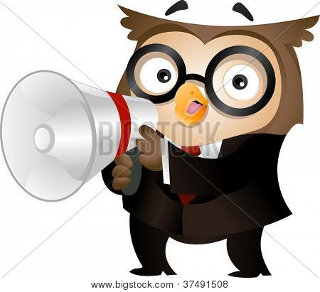 Illustration of an Owl Clad in Business Attire and Holding a Megaphone