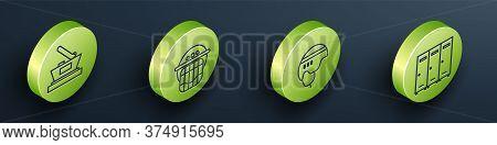 Set Isometric Ice Hockey Cup Champion, Hockey Helmet, Hockey Helmet And Locker Or Changing Room Icon