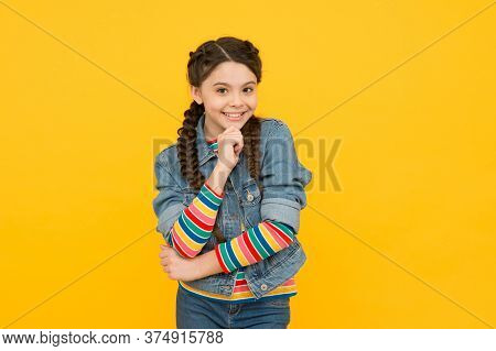 Your Teeth Define Your Smile. Happy Child Smile Yellow Background. Small Girl With Healthy Smile. Pe