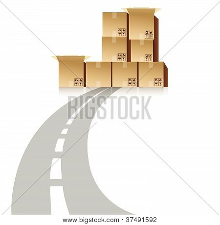 Road block by shipping boxes illustration design