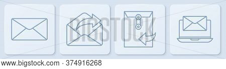 Set Line Envelope, Envelope, Outgoing Mail And Laptop With Envelope. White Square Button. Vector
