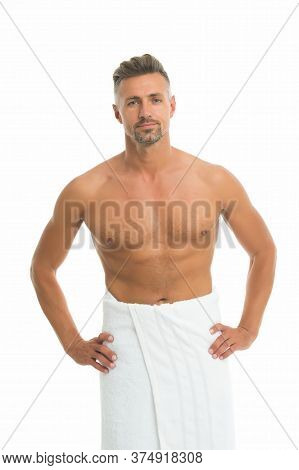 Deal With Bristle. After Bath. Sexy Man In Bath Towel. Athletic Guy With Sexy Muscular Torso. Hygien