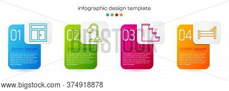 Set Line Window In The Room, Table Lamp, Staircase And Bed. Business Infographic Template. Vector