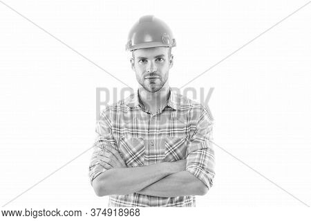Work Feed A Man. Man Or Workman Isolated On White. Confident Man In Hard Hat. Construction Worker Or