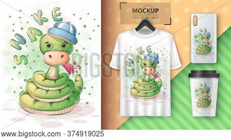 Cute Snake - Poster And Merchandising. Vector Eps10