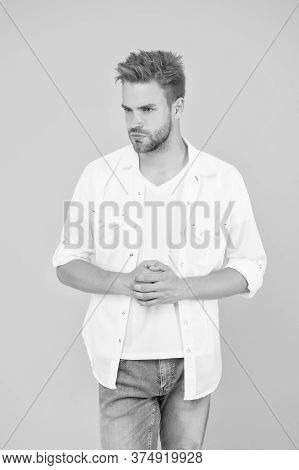 Formal Fashion. Formal Style. Clothes Shop. Classic And Minimalist Style. Attractive Man Wear Shirt.