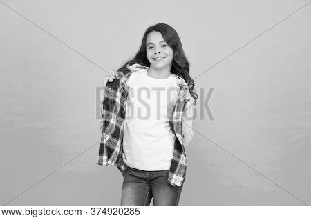 Pleasant Emotions. Stylish Teen Girl Turquoise Background. Pretty Teen Girl With Long Hair, Fashion.