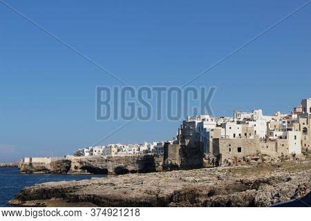 Polignano, Puglia, Italy. Beautiful Town Overlooking The Adriatic Sea