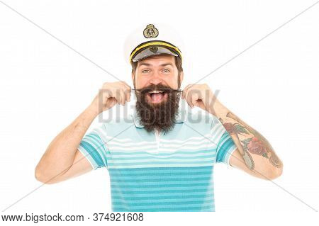 With Great Barbershop Comes Great Beard. Happy Seaman Twirl Moustache Isolated On White. Bearded Man