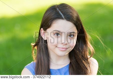 Be Natural, Be Beautiful. Happy Child Smile On Sunny Outdoors. Beauty Look Of Little Girl. Summer Sk