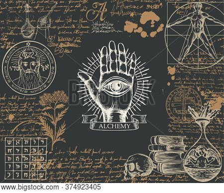 Alchemy Banner In Vintage Style. Artistic Illustration On Alchemical Theme With Hand-drawn Palm, Thi