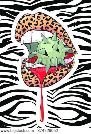 Exciting Image Of Animal Print Lips Biting A Spiked Sphere And Bleeding On Zebra Background