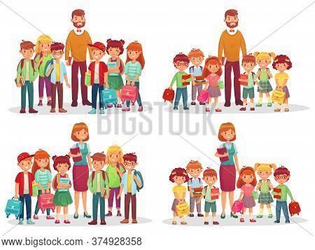 Group Of School Kids And Teacher. Education Knowledge, Students Elementary And Preschool Kindergarte
