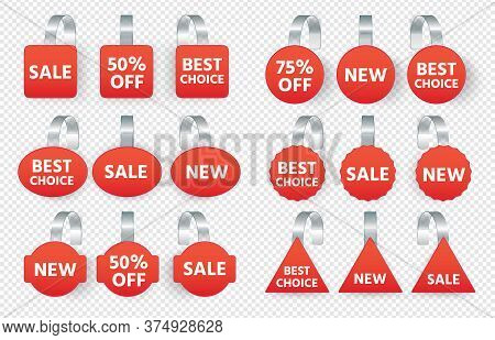 Red Sales Tags Wobblers With Text. Vector Collection Tag Sale, Label Discount Promotion, Price Stick