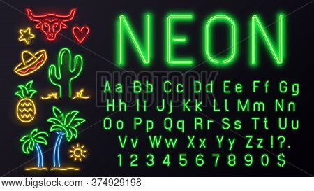 Neon Font With Signs. Vector Alphabet For Night, Letter Lamp Electric, Illuminated Abc For Nightlife