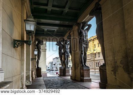 Saint-petersburg.russia.june 17, 2020.atlanteans At The Building Of The New Hermitage In St. Petersb