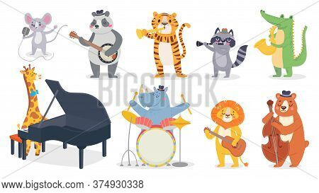 Cartoon Animals With Music Instruments. Giraffe Play Piano, Cute Panda With Banjo And Alligator Play