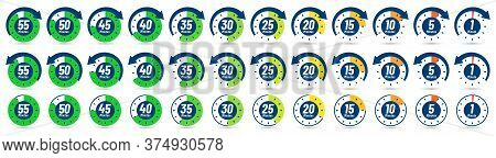 Color Minutes Icon. Timer, 1 Minute Ago And 5-55 Minutes Label Dial With Arrow. Set Time Vector Icon